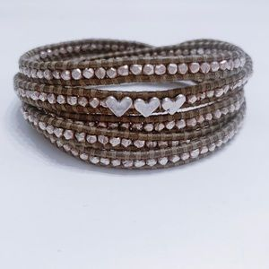 Chan Luu Wrap Bracelet With Three Hearts